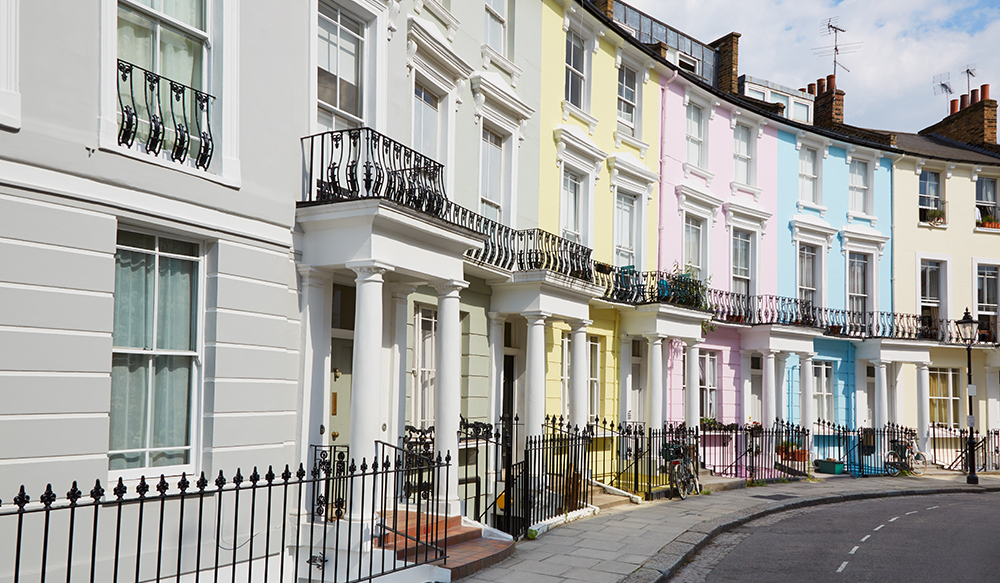 Colourful London houses in Primrose hill, english architecture